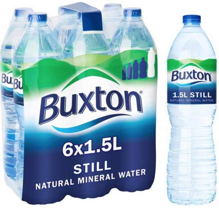 Bottles of Nestle Buxton Mineral Water