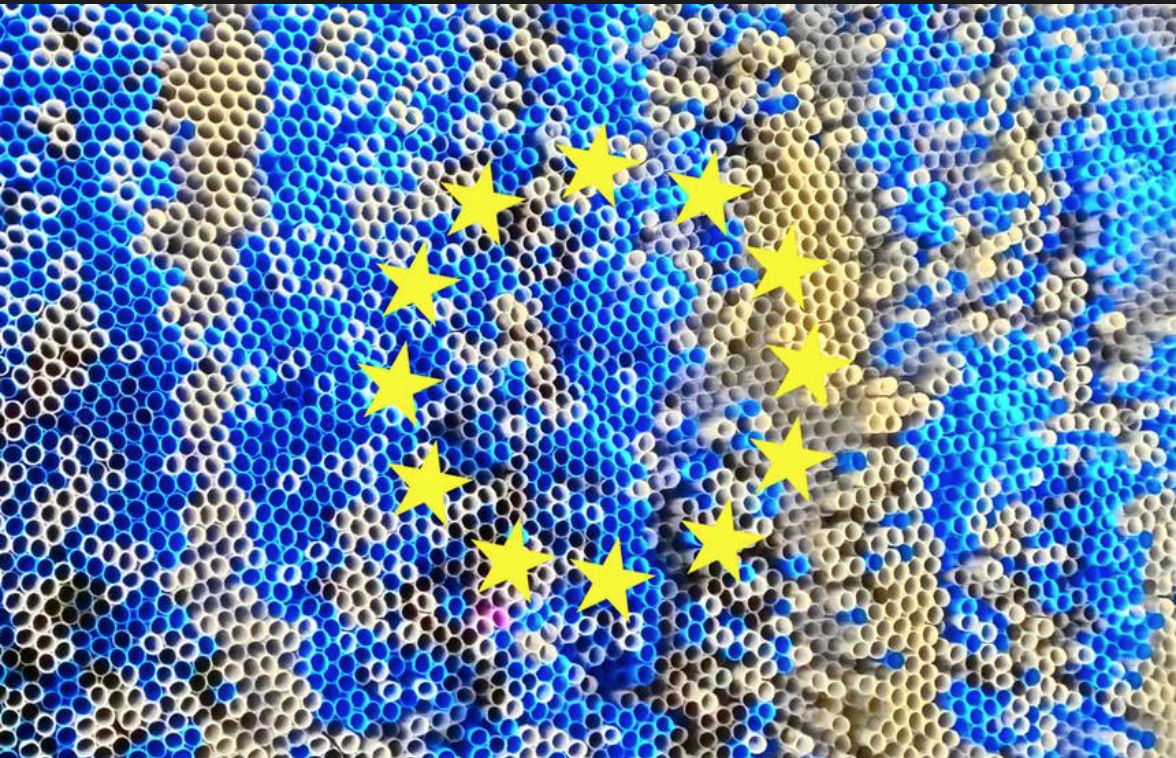 European Union flag made of plastic straws